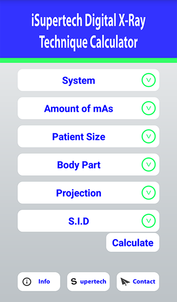 iSupertech App - Digital X-Ray Technique Calculator