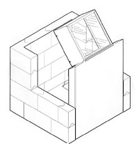 L-Block Shields, 042-419 L-Block Shield & Interlocking Lead Brick Cave