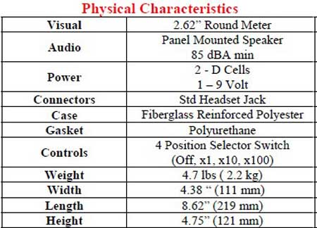 4007A Survey Meter Physical Characteristics